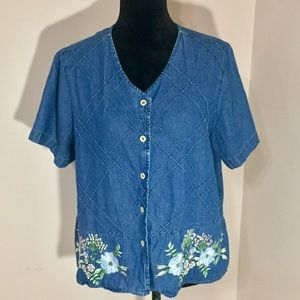 Blair Denim Short Sleeve Top With Floral Accents